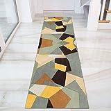 GJIF Tappeto Corridore per Corridoio, Geometria, Moquette, Camera da Letto, Pavimento Antiscivolo, Design Moderno per Corridoio/Cucina/Scale, Larghezza 60cm/ 80cm/ 90cm/ 100cm/ 120(Size:80x350cm)
