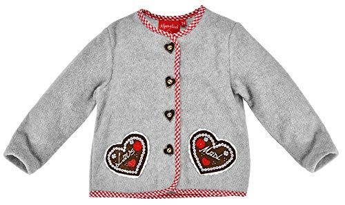 BONDI Chaqueta de forro polar Lausmadl para niñas y bebés 86440 | Gris – Chaqueta para traje regional infantil con botones de corazón y aplicaciones de corazón gris 18 meses