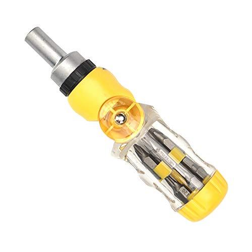 12 PCS Destornillador de trinquete y el bit conjunto de funciones múltiples conductores del tornillo de cromo-vanadio de acero de aleación plegable Destornillador amarillo