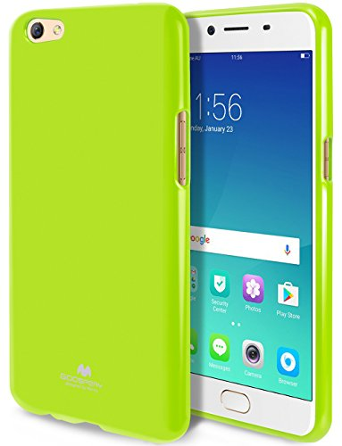 Goospery Pearl Jelly for Oppo R9S Case (2016) with Screen Protector Slim Thin Rubber Case (Lime) OPPOR9S-JEL/SP-LIM