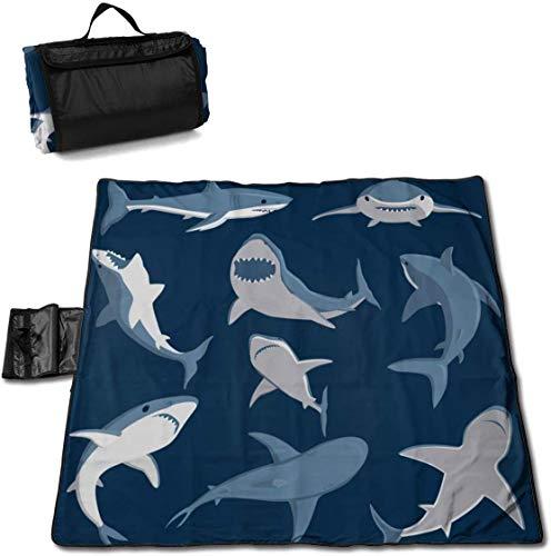 N/A Große wasserdichte Outdoor-Picknickdecke Hai-Comic-Wildfische, sanddichte Strandmatte für Camping, Wandern, Gras Reisen