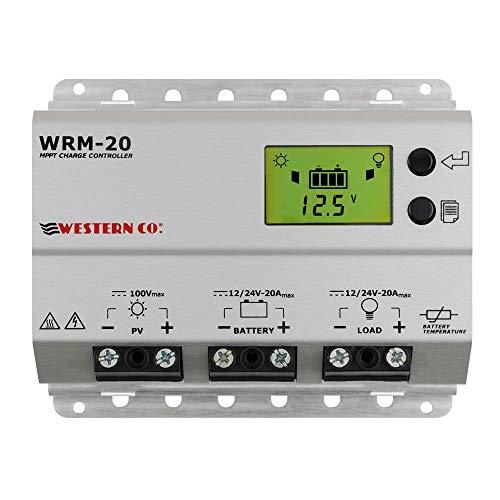 WRM20 - Regulador de Carga de 20 A MPPT, Color Gris Plateado Plateado Western CO.