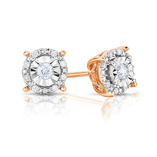 NATALIA DRAKE 1/4 Cttw Round Halo Diamond Stud Earrings for Women in Rose Gold Plated Sterling Silver (Color IJ/Clarity I2-I3)