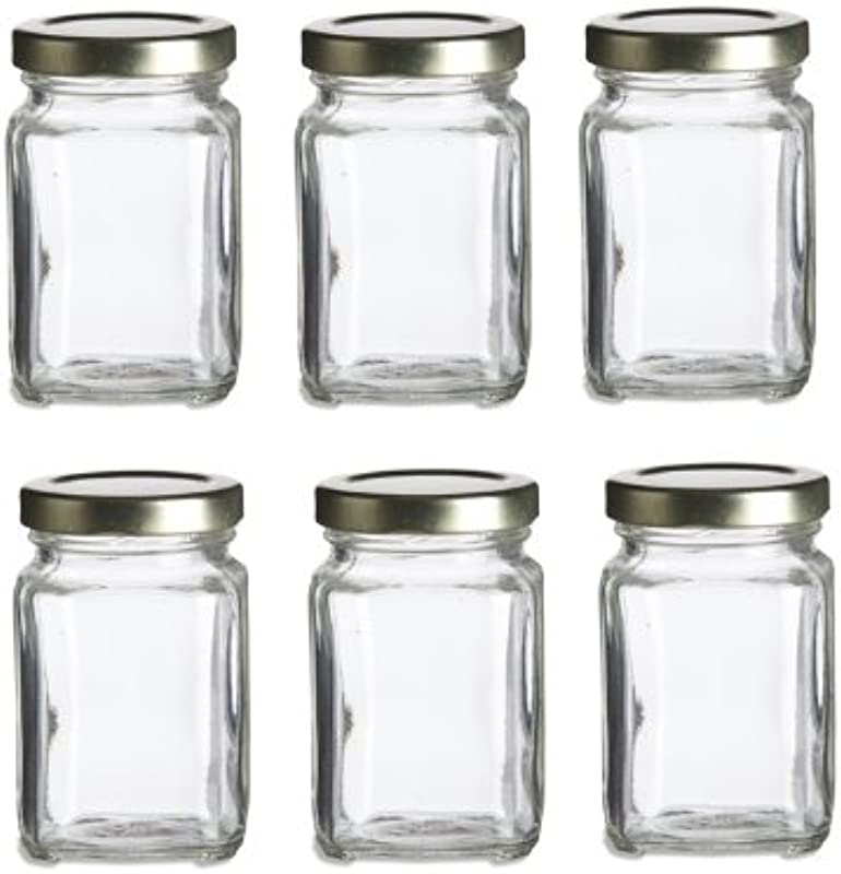 Nakpunar 6 Pcs 3 75 Oz Mini Square Glass Jars For Jam Honey Wedding Favors Shower Favors Baby Foods DIY Magnetic Spice Jars
