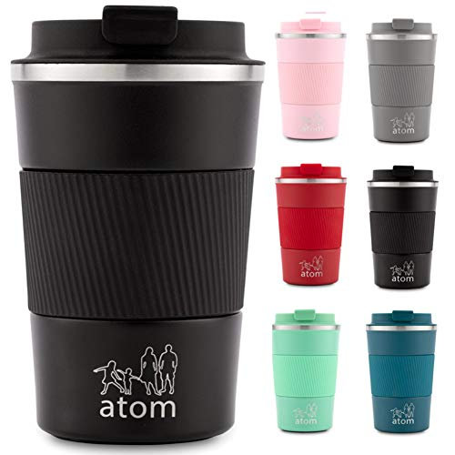 atom products Insulated Reusable Coffee Cup/Travel Mug (Black, 380ml)
