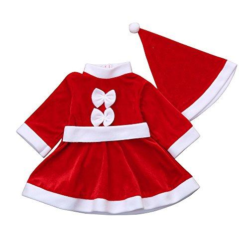 Zolimx 2 Pezzi di Natale Vestiti Abiti Costume + Cappello,Unisex Bambini Elfo di Natale Costume con Cappello Santa's Little Helper Costume da Elfo Natalizie Fancy Dress Cosplay