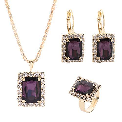 QXZ-WOLFBERRY Juego de Anillos de Anillo del Anillo de la Oreja del Collar de la Gema de Cristal de Diamante Completo, Danza con Broca de Agua de Cristal Collar Anillo de Orejas (Color : Púrpura)
