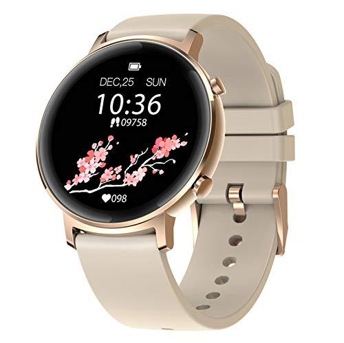 BNMY Fitness-Smartwatch Mit Herzfrequenz, Trainingsmodi, Schlaf-Tracking, Wasserdichtem 30M, Schlank Und Schlank, Fitness-Tracker Für Frauen Und Männer,Gold