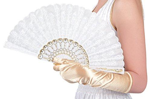 Boland 00508 - Fächer Granada aus Stoff, ca. 25 cm lang, weiß mit goldenen Ornamenten, 20er Jahre, The great Gatsby, Spanierin, Barock, Kostüm, Accessoire, Motto Party, Karneval
