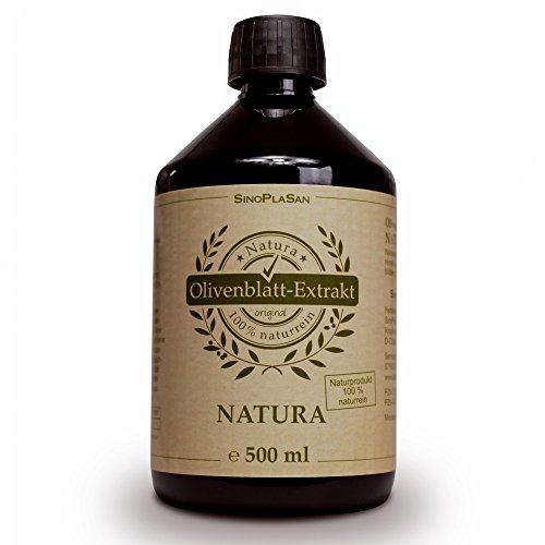 Olivenblatt Extrakt NATURA 500ml, flüssig, 100{2c92c20a92de098dbd960813ef2964c9806470181ce08d0e5094f66ffe60c62c} natürlich/naturrein, keine Zusatzstoffe!, höchstdosiert, vegan, glutenfrei, laktosefrei, GMO-frei, qualitätsüberprüft