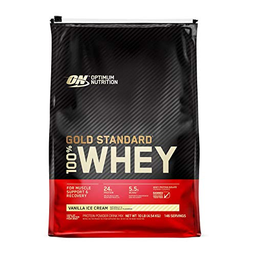 Optimum Nutrition Gold Standard 100% Whey Protein Powder, Vanilla Ice Cream, 10 Pound (Packaging May Vary)