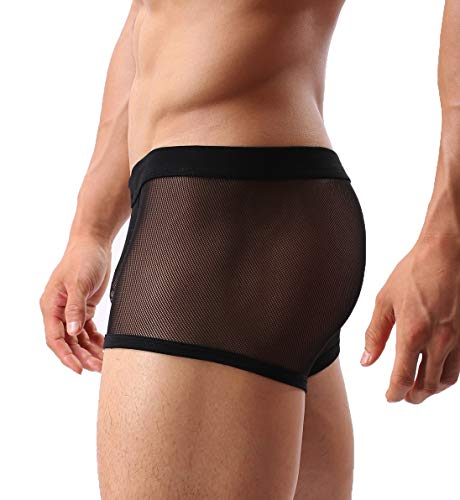 Mens Sexy Underwear Breathable Mesh Boxer Briefs See Through Hollow Lingerie Black Large