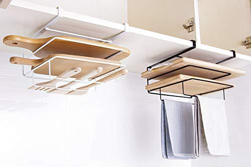 LalaLifeまな板ホルダーキッチンラックまな板キッチン用品キッチン収納まな板スタンドキッチンホルダー吊り下げラックまな板ラックフライパン蓋収納キッチン便利道具取り付け簡単(ホワイト)
