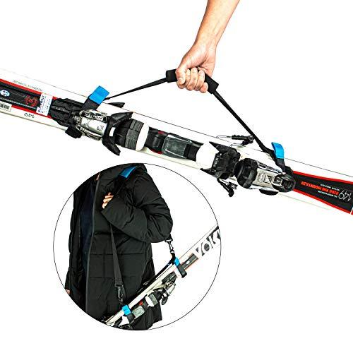 PROSKI - Premium Ski Tragegurt mit ergonomischen Schultergurt & starkem Klettverschluss - Ski Gurt Strap aus reißfesten Materialien gefertigt - Robuste Skitasche Skibag zum leichten Transport von Ski