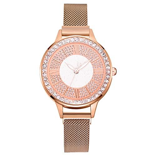 2pcs Set Luxury Women Watches Magnetic Rhinestone Reloj Femenino Reloj de Pulsera de Cuarzo Moda Reloj de Pulsera (Color : Rose)