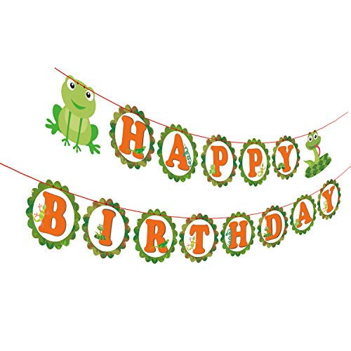 Gyzone Reptile Snake Garland Birthday Banner, Reptile Party Decorations Supplies