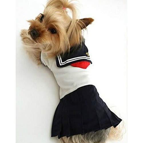 LCWYP Vestiti per Animali Simpatico Abbigliamento per Cani per Cani di Piccola Taglia. Costume da Marinaio per Animali Domestici Uniforme per Gonne