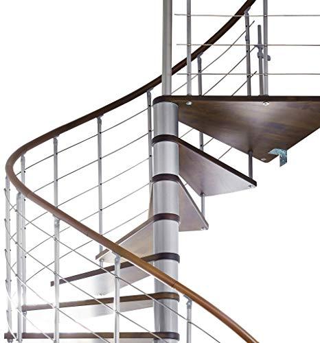 Spindeltreppe Intercon Caparo - dunkel Edition in 120, 140 und 160 cm Durchmesser (120 cm, Italo-Silber)