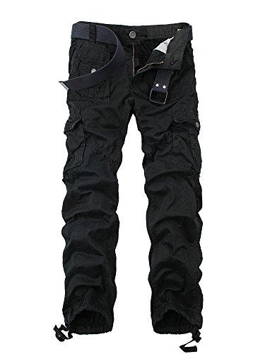 Ochenta - Pantalones militares cargo para hombre de algodón lavado con múltiples bolsillos - -