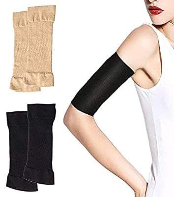 2 Pairs Arm Slimming Shaper Arm Compression Sunscreen Wrap Sleeve for Women Weight Loss Upper Arm Shaper Helps Lose Arm Fat Toneup Arm Shaping Sleeves for Beauty Women from Mivyy