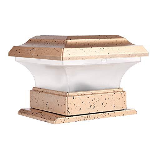 Hongzer Solar Power Mastkappenleuchte, wasserdichte Mastkappenleuchte für den Außenbereich mit warmem Licht für das Zaun-Deck, Gartenlandschaftshof-Stehlampe