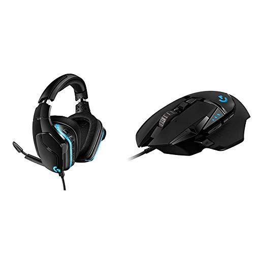 Logitech G635 Cuffie Gaming RGB Cablate, Audio Surround 7.1, Cuffie DTS: X 2.0, Drivers Pro-G 50 mm & G502 HERO Mouse Gaming Prestazioni Elevate, Sensore HERO 16K, 16000 DPI, RGB