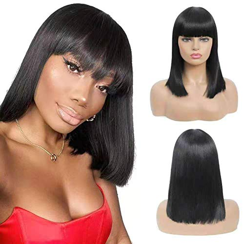 Women's Short Straight Wigs Black Wigs with Bangs Synthetic Hair Wig Heat Resistant Fluffy for Costume Daily Use