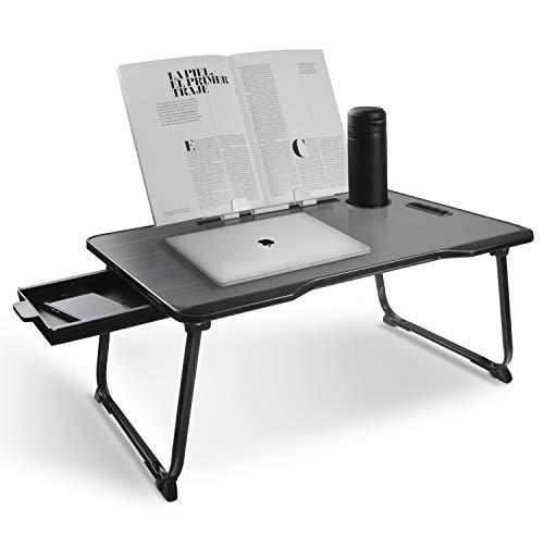 Mesa Latop, escritorio portátil de pie, bandeja para portátil con patas plegables y ranura para taza para leer libros y escribir, ver películas en la cama/sofá/sofá (negro)