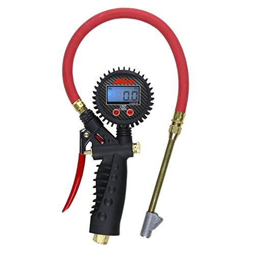Milton Pro Digital Tire Pressure Gauge S-577D, Straight Foot Chuck with Lock, Pistol Grip Handle, Easy to Read 0.1 Display, 255 PSI Max Pressure, 15 Inch Hose, 1/4' NPT (PSI, kPa, Bar, and kg/cm2)