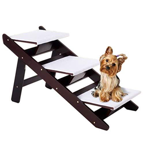 Escalera de Mascota 2 En 1 Convertible Plegable Perro Escaleras/Escalera para Perros Grandes, Perros Mayores Y Perros Enfermos, Rampa De Madera para Mascotas De 3 Escalones para Camas Altas Y Automó