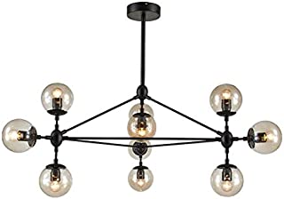 Narrandes Modo 10/15/21 Bulbs Heads E27 Decorative Chandeliers Amber Glass Black Metal D175cm, 69 Inch Pendant Lamp Light Loft Light 110-240V 8916P (10 Heads L1040xW910xH570mm)