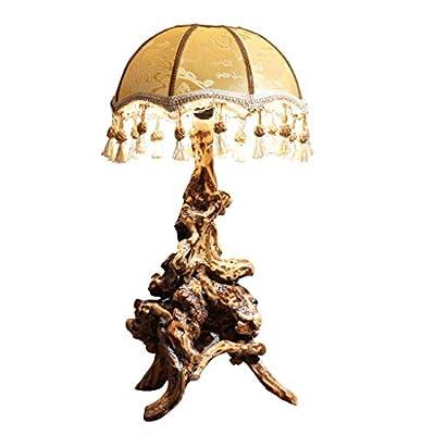 Ce lampadaire est certifié 3CE, pas de flash, pas de source lumineuse, sans ampoule. NOTA: ¡La bombilla no está incluida en el paquete! Lámpara de mesa de forma de raíz de árbol tallada a mano de madera vintage china creativa, protege tus ojos, no pa...