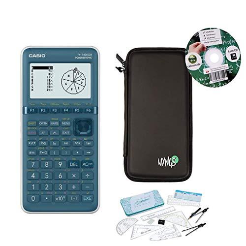 Streberpaket: Casio FX-7400GIII + erweiterte Garantie + Schutztasche + Lern-CD + Premium Geometrie Set