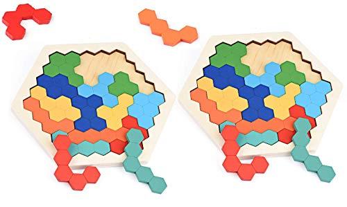 Herefun 2 Set Tangram Puzzle, Hölzernes Sechseck Puzzle Kinder, Geometrie Spielzeug, lernspielzeug Spielzeug Montessori Logik IQ Spiel, Geburtstag Weihnachten pädagogisches Geschenk für Kinder