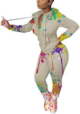 Women Two Piece Tracksuit Long Sleeve Zip Hoodies Sweatshirts Bodycon Long Pants Jogging Sets product image