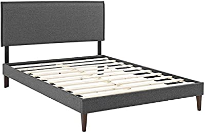 Modway Camille Fabric Platform Bed with Squared Tapered Legs, King, Gray