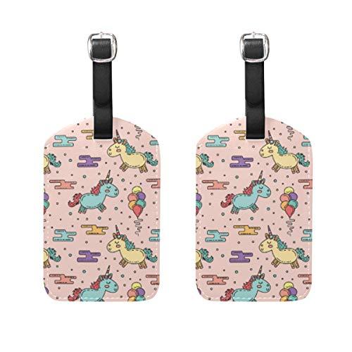 LORONA Hand gezeichnete Einhörner Muster mit Luftballons Gepäckanhänger Strings Travel ID Label für Koffer Handgepäck, 2er-Set