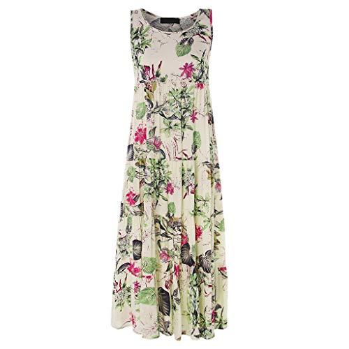 DIPOLA Damen Cocktailkleid Retro Print ärmelloses Kleid O-Ausschnitt Blumenkleid Retro Langes Kleid Langes Kleid Party Rock Petticoat