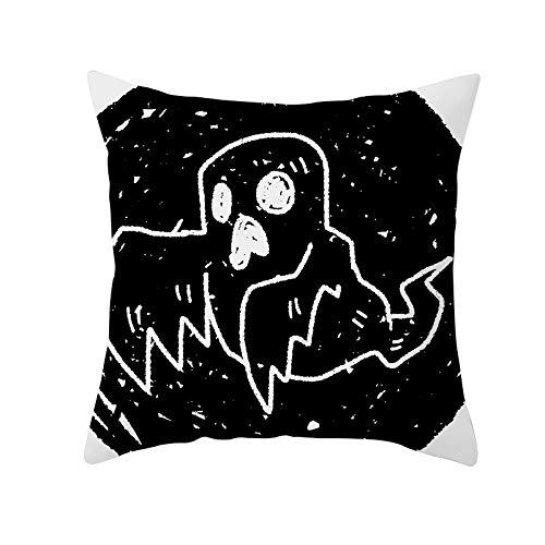 Funda de Cojín Decorativos Funda de Almohada Fantasma Cuadrado Terciopelo Suave Cojines Decoracion con Cremallera Invisible para Sofá Cama Decoración Hogar Funda de Cojín M48 Pillowcase+core,40x40cm