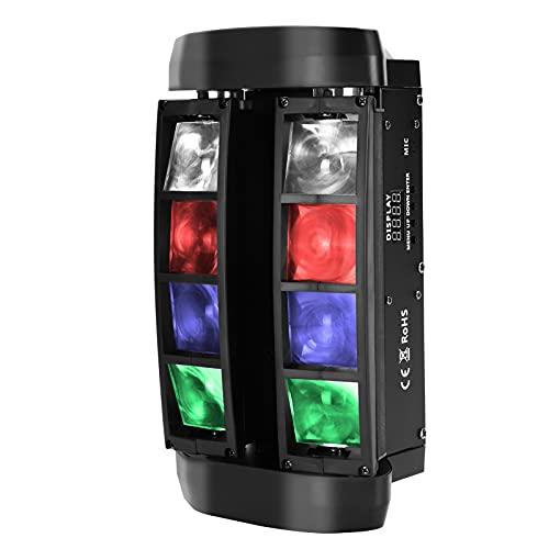 Mini Spider Light, NIPEECO Moving Head Bühnenlicht 48W 8 LEDs 4 in 1 DJ Party Light Disco Bühnenlicht DMX mit RGBW Lichtern für Live Events, Bar, Karaoke, Weihnachten, Halloween, Home Party, Hochzeit
