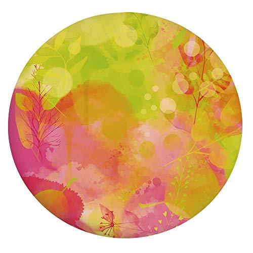 Nappe élastique résistante aux taches, peinture aquarelle inspirée de la nature, œuvre d'art psychédélique pour table ronde de 61 cm, pour événements d'intérieur et d'extérieur Rose pomme