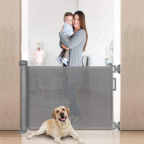Yoofoss Barrera Seguridad Niños y Mascotas Escalera Retráctil Puertas de Seguridad para Niños Enrollable Bebe 0-140cm gris