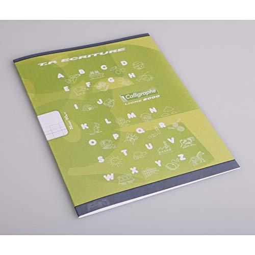 Calligraphe 108502C - Un cahier de travaux pratiques (gamme 8000 de Clairefontaine) 32 pages 17x22 cm 90g grands carreaux DL4mmIV et pages unies blanches, couverture carte offset, couleur aléatoire