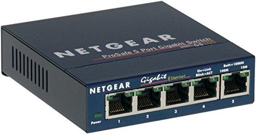 NETGEAR GS105GE 5-port Gigabit Ethernet LAN Switch (plug-and-play, Ethernet Splitter, fläktlös, robust metallhölje, ProSAFE Livstidsgaranti