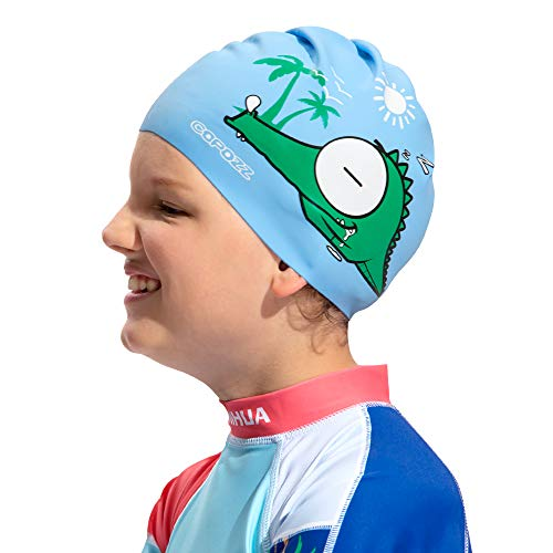 COPOZZ Kids Swim Caps, Silicone Waterproof Comfy Swimming Cap Hat for Children Boys Girls Aged 5-12