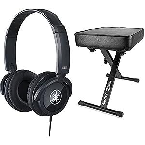 Yamaha HPH-100B Headphones, Black & RockJam RJKBB100 Premium Adjustable Padded Keyboard Bench and Piano Stool