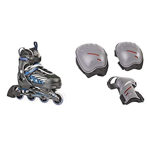 HUDORA Kinder Inliner Leon - Gr. 29 - 32, schwarz/blau - Inline-Skates - 28232 & Protektoren-Set Kinder, biomechanisch, Gr. S (ca. 3 - 7 Jahre) - Schutzausrüstung Inliner Skater, Rollschuhe