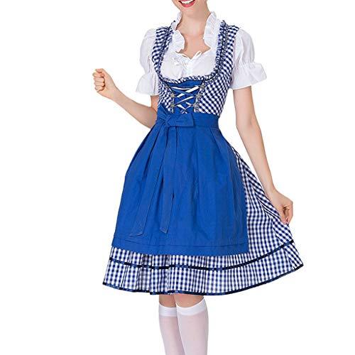 Zylione Damen Festliches Kleid Dirndl Zweiteiliges Set mit Gürtel Schürze Kopfbedeckung für 2019 Oktoberfest Trachtenkleid Kostüm Bayerisches Biermädchen Maid Dress Tracht Kleid Kariertes Spitze