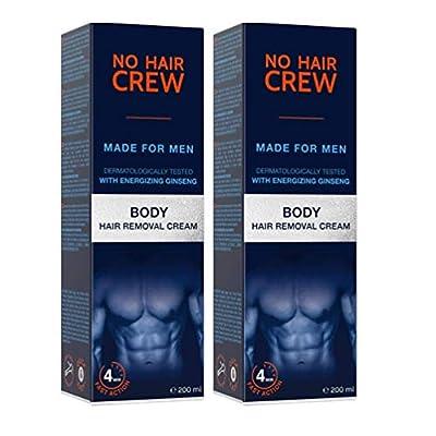 2 X NO HAIR CREW Premium Body Hair Removal Cream – Depilatory Cream Made for Men, 200 ml (2-Pack)