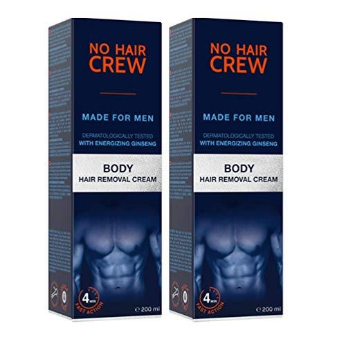 NO HAIR CREW Crema Depilatoria Corporal Premium Masculina – Hecha para Hombres, 2 X 200 ml